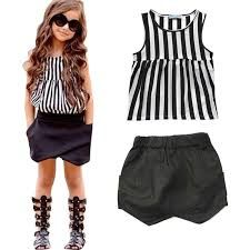 Summer Girls Clothes 2017 New Style Children Clothing Girls Set Striped Tops+ Shorts Pants Fashion Kids Suits for Girls Baby Outfits, Vest Outfits, Kids Outfits Girls, Toddler Outfits, Black Kids Fashion, Girl Fashion, Short Pants Girl, Short Noir, Denim Suit