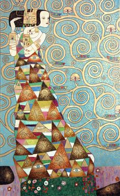 Adam Antoni Rząsa – Malerei – Die Erwartung (Gustav Klimt)