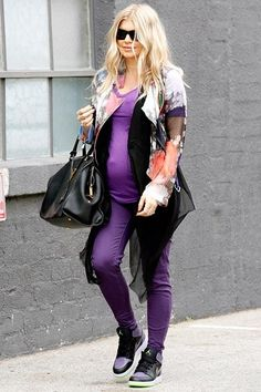 7505b3a9a Fergie dressed her growing baby bump in a purple ensemble while leaving a  recording studio in Santa Monica