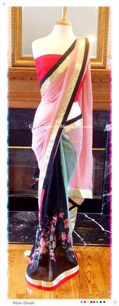 Printed georgette body with multi color palla.