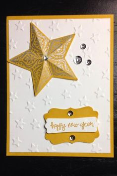 Stampin' Up! Bright and Beautiful Lucky Stars Good Greetings Silver Encore Ink Hello Honey Happy New Year