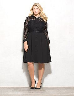 roz&ALI Plus Size Belted Lace Top Ponte Dress