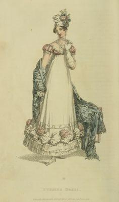 Evening headwear and shawl. Ackermann's Repository 1818
