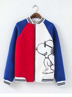 d3522fa866d6 2017 Blue White Colorblocked Snoopy Baseball Jacket for Girls Blue Bomber  Jacket