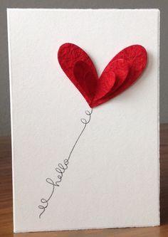 Die schlichte Karte: wieder Herzen... (Diy Birthday)