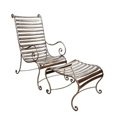 Superb Vintage Polished Steel Chair and Ottoman