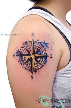 Watercolor compass tattoo human-canvas-tattoo   Brad Bellante