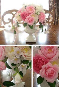Crape paper flower arrangement - DIY