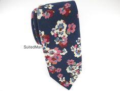Floral Tie, Navy Poppy