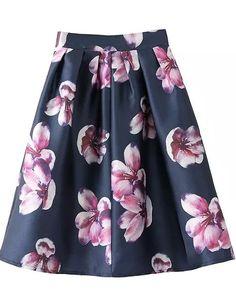 Purple Big Floral Lovely Skirt