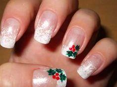Christmas manicure - Mistletoe on my nails - Nail Art Tutorial Christmas Manicure, Holiday Nail Art, Xmas Nails, Christmas Nail Designs, Christmas Nail Art, Christmas Nails Glitter, Holly Christmas, Simple Christmas, Christmas Wedding