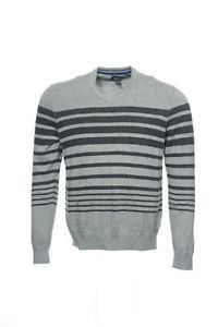 Kenneth Cole Reaction Light Gray Horizontal Striped V-Neck Sweater Xxl
