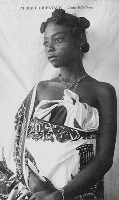 Africa | Young Veso woman. Madagascar. ca. early 20th century. || Vintage postcard; publisher Charifou Jeewa à Diégo-Suarez