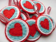 Red and aqua hearts ♥