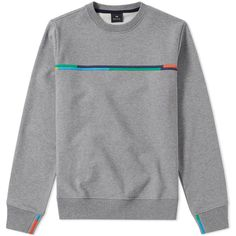 Paul Smith Embroidered Stripe Crew Sweat (Grey Marl) | END.