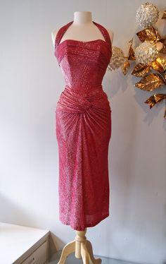 Late 1940s Lurex bombshell dress by Emma Domb.