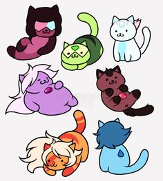 Neko Atsume + Steven Universe - princessharumi: Stickers, Shirts, Notebooks and more now available at my Redbubble shop! Cartoon Network, Tattoo Gato, Funny Cartoon Pictures, Steven Univese, Neko Atsume, Chibi, Universe Art, Universe Images, Mo S