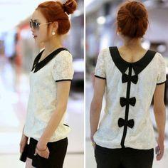 Applied 1PC Fashion Women Casual Lace Chiffon Pan Collar T-Shirt Blouse Top