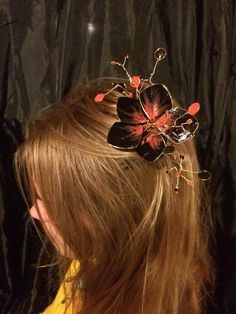 "I added ""Black and Orange Hand-Painted Flower Hair by River"" to an #inlinkz linkup!https://www.etsy.com/listing/253250439/black-and-orange-hand-painted-flower"