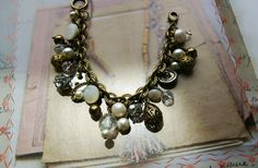 Button Bracelet Antique Button Jewelry  Mother of by veryDonna, $72.00