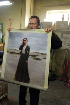 Christopher Walken with Jeremy Lipking's painting.