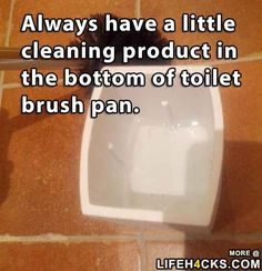 Keep cleaning liquid in the bottom of the toilet brush pan.