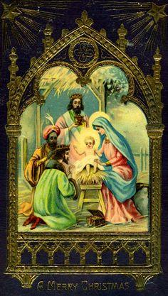 Christmas card - The Nativity Religious Images, Religious Art, Christmas Nativity, Christmas Past, Vintage Postcards, Vintage Cards, The Birth Of Christ, Jesus Christus, Happy Birthday Jesus
