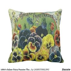 1880's Salzer Fairy Pansies Throw Pillow