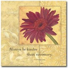 Always be kinder than necessary.