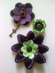 Steampunk felt flowers my daughter made for her wedding