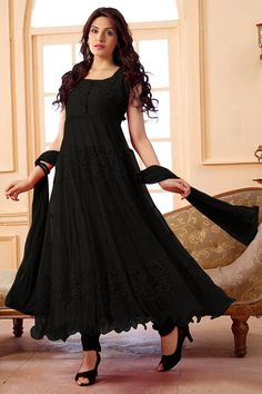 Women s Clothing - Party Wear Net Black Anarkali Suit - - Enter with your desired ethnic look at this weekend get together.Salwaar Suits - Party Wear Net Black Anarkali Suit - - Enter with your desired ethnic look at this weekend Black Anarkali, Anarkali Dress, Anarkali Suits, Dress Indian Style, Indian Outfits, Beautiful Suit, Beautiful Dresses, Stylish Dresses, Fashion Dresses