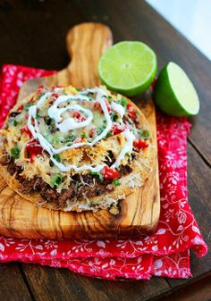 Baked Mexican Tostadas: Healthy Mexi! Go low-fat/light on the cheese and sour cream, and this meal has tons of fiber and protein. yum! #dinner