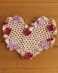 ハート形ドイリー...A pretty crocheted heart and flower embellishments...FREE DIAGRAMS!