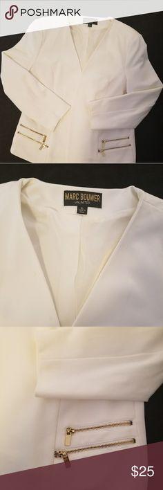 Classy Women's Blazer Very nice stylish cream blazer with gold zipper accents Marc Bouwer Jackets & Coats Blazers