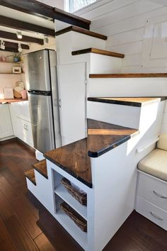 Tiny House on Wheels w/ Big Kitchen and Double Sink Vanity Tiny Living Homes Custom THOW with Double Vanity Sink and Full Kitchen 0012 Tiny House Stairs, Tiny House Loft, Loft Stairs, Tiny House Living, Tiny House Plans, Tiny House Design, Tiny House On Wheels, Tiny Loft, House Floor
