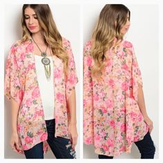 """Pink coral floral kimono-last small Last one in size small. 100% polyester. Cute, loose and flowy! Sides split giving a hi low hem. Length: 27"""" front, 34"""" back. NWOT Other"""