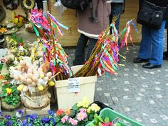 Easter in the market -- pomlázka with ribbons