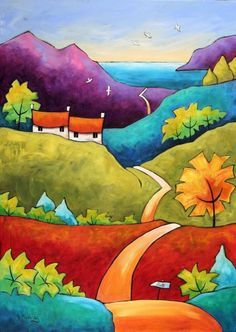 Ideas For Landscape Art Painting Roads Landscape Quilts, Landscape Art, Landscape Paintings, Landscapes, Landscape Pictures, Art Paintings, Colorful Paintings, Indian Paintings, Abstract Paintings