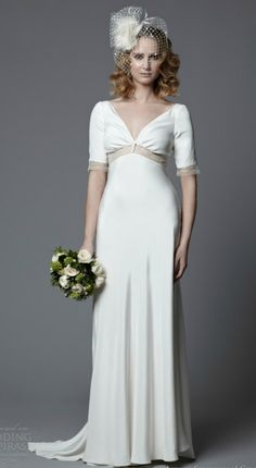 Simple Empire Short Sleeves Wedding Dress for Older Brides Over 40, 50, 60, 70. Elegant Second Wedding Dress Ideas.