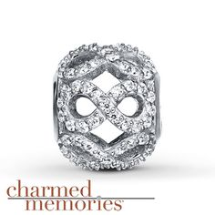 Charmed Memories Champagne Cubic Zirconia Sterling Silver Charm oZFPioV