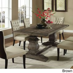 Modway Furniture Column Wood Dining Table In Brown Eei 1199 Brn Wood Dining Table, Farmhouse Dining Table, Dining Room Decor, Dining Room Table Centerpieces, Rustic Farmhouse Dining Table, Wooden Dining Tables, Dining Room Table, Rustic Dining Room, Wood Rectangle Dining Table