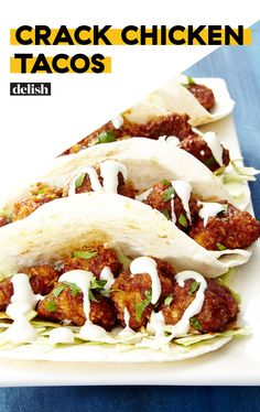 Warning: Crack Chicken Tacos are dangerously addictive. Get the recipe at Delish. Warning: Crack Chicken Tacos are dangerously addictive. Get the recipe at Chicken Taco Recipes, Mexican Food Recipes, Dinner Recipes, Chicken Taco Sauce Recipe, Chicken Taco Bake, Easy Chicken Tacos, Chicken Ranch Tacos, Rotisserie Chicken Tacos, Shredded Chicken Tacos