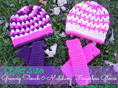 Matching Child Size Slouch and Fingerless Gloves