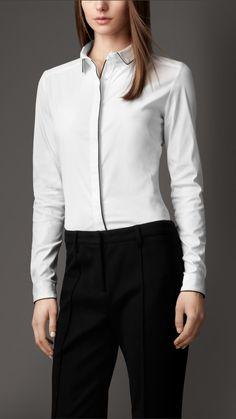Contrast Trim Stretch Cotton Blend Shirt | Burberry