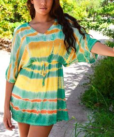 Take a look at the Yellow & Green Drop-Waist V-Neck Tunic on #zulily today!