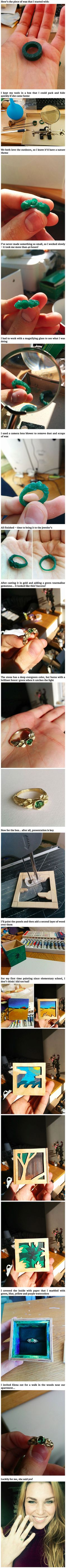 Because I like to sculpt wood and clay, I decided to, in one way or another, create a ring of my own design. Eventually, I found a jeweler who agreed to take anything I'd make out of wax and cast it in gold!<<aww