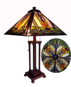 Handcrafted Mission Styled Tiffany Style Stained Glass Table Lamp