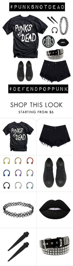 """Punk is NOT dead!"" by ooakforest ❤ liked on Polyvore featuring Converse and Lime Crime"