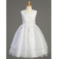 Lito Girls White Embroidered Organza Pearl First Communion Dress 7-14 lito, http://www.amazon.com/dp/B004I8KNZ2/ref=cm_sw_r_pi_dp_-1vgrb0B6JBN8 ( they don't have a size 6 or 6x though)