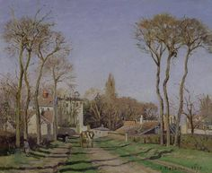 Giclee Print: Entrance to the Village of Voisins, Yvelines, 1872 by Camille Pissarro : Camille Pissarro, Philadelphia Museum Of Art, Poster Prints, Art Prints, Beach Landscape, Paris, State Art, Art Reproductions, Great Artists